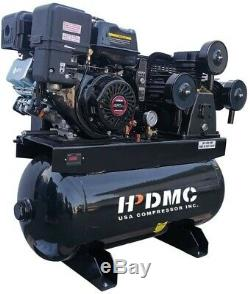 13HP Gas Powered Piston Pump Air Compressor & Horizontal Tank, 3-Cylinder