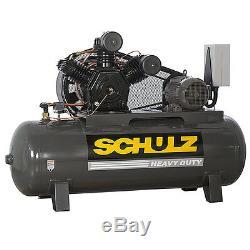 15 HP 3 Phase 120 Gallon, 175 PSI, 60 CFM, Schulz Air Compressor