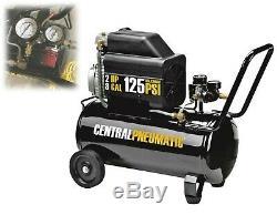 2 HP Oil Lube Portable Air Compressor 8 Gallon Horizontal Hot Dog Pneumatic Tool