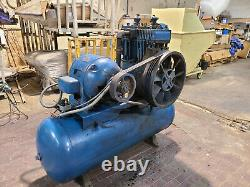 20 HP Quincy Air Compressor QR-25 Horizontal Series Model 390 with 20 HP GE Moto