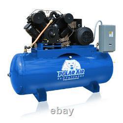 20HP Air Compressor 3 Phase 460V 120 Gallon Tank Horizontal Industrial Plus
