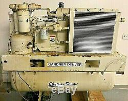 20hp Gardner Denver Rotary Screw Air Compressor, 125psi, Tank Mounted