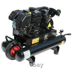 6.5 HP Portable Gas-Powered 9 Gal. Twin Stack Air Compressor 125PSI Horizontal