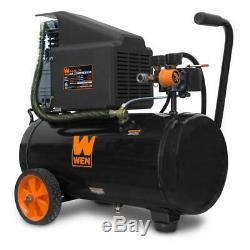 6 gal. Oil-lubricated portable horizontal air compressor wen electric tank hot