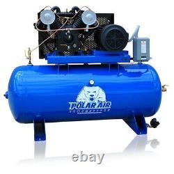 7.5HP V4 3 Phase 230V 80 Gallon Tank Horizontal Air Compressor