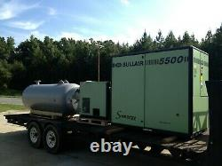 75 horsepower Rotary Screw air compressor package 660 gallon tank and air dryer
