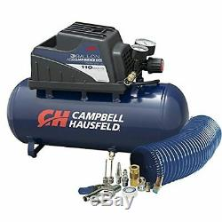 Air Compressor, Portable, 3 Gallon Horizontal, Oilless, with 10 Piece Accessory