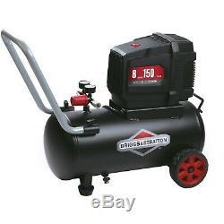 Briggs & Stratton 8 Gallon Horizontal Tank Hotdog Oil Free Air Compressor NEW