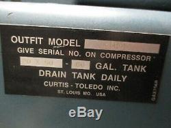 Curtis-Toledo ES-20 Air Compressor 6DH6E Dual 1.5HP Motors 20x50-60 Gal. Tank