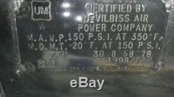 De Villbiss 6 H. P. 30 Gallon 230 volt Model GFTVC6030 Air Compresor (USA)