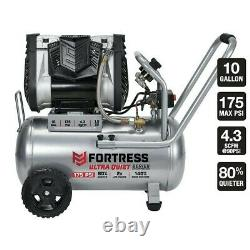 FORTRESS 10 Gallon 175 PSI Ultra Quiet Horizontal Shop/Auto Air Compressor+Bonus