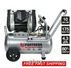 Fortress 10 Gallon Ultra Quiet Horizontal Air Compressor 175 PSI Auto Shop New