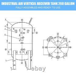 HPDMC Industrial Air Compressor Receiver Tank Vertical Horizontal ASME 260Gallon