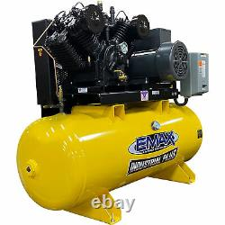 Industrial 10 HP 2 Stage V4 1 Phase Horizontal 80 Gal Piston Air Compressor
