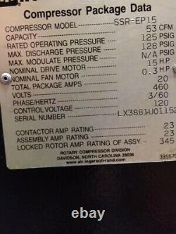 Ingersoll-rand Ssr-ep15 15 HP Rotary Screw Air Compressor B40904