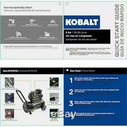 KOBALT 8-Gallon Single Stage Portable Electric Horizontal Air Compressor