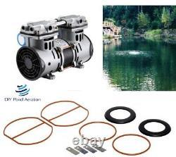NEW Vacuum Pump Air Pond Compressor 1/2hp 3+cfm 72 PSI+ Rebuild KIT 2yr warranty