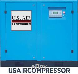 New 30 HP US AIR COMPRESSOR ROTARY SCREW VFD VSD with Trad'N Atlas Copco 135 cfm