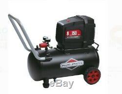 Oil-free Air Compressor Spray Gun Briggs & Amp 8-Gallon Horizontal Tank Electric