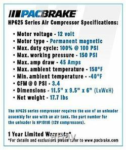 Pacbrake AMP HP10625H HP625 12V Air Compressor w Horizontal Head 100% Duty Cycle