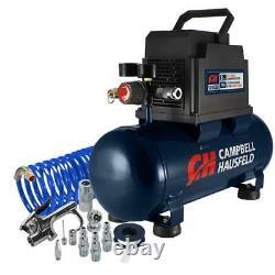 Portable Electric Air Compressor Hot Dog Tank Tool 3 Gallon Horizontal Oil Free