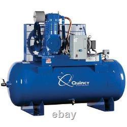 Quincy 10 HP 2-Stage Air Compressor, 120-Gallon Horizontal, USA #8805-20DS