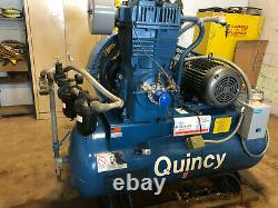 Quincy 20 HP Air Compressor with Baldor Motor Low Hours