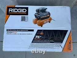 RIDGID Portable Air Compressor 4.5 Gal. Locking Regulator Oil Free Corded