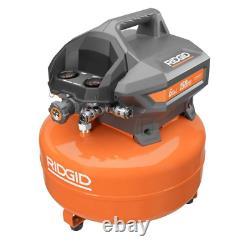 RIDGID Portable Air Compressor 6 Gal. Tank Pressure Gauge Electric