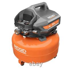 Rigid 6 Gal Portable Electric Pancake Air Compressor 150 PSI 2 Nailers at Once