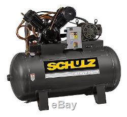 Schulz Air Compressor 7.5hp 3 Phase -horizntal 80 Gal Tank 30cfm 175 Psi
