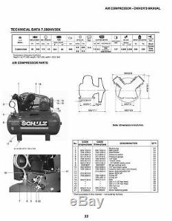 Schulz Air Compressor 7.5hp Three Phase 80 Gallon Tank 30cfm New