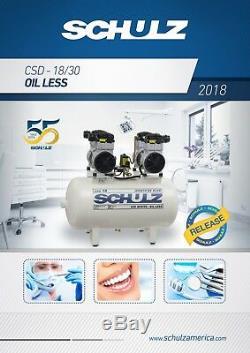 Schulz Oilless Csd-18/30 Medical Air Compressor 3hp 120psi