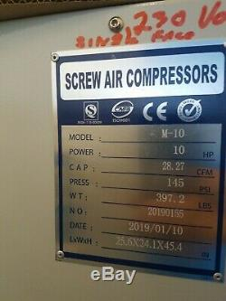 Screw air compressor 10 HP single phace 230 volts inverter 40 cfm 150 psi New