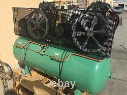 Speedaire 3 Ph. Horizontal Tank Mounted 7.5HP x 2 120 gal Air Compressor 35WC63