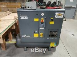 Used Atlas Copco GX7FF EP 2014 10 hp Rotary Air Screw Compressor + Dryer + Tank