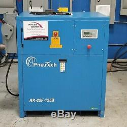 Used Pneutech 25 HP Rotary Screw Air Compressor 230 / 460 Volt Low Hours