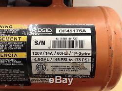 Used RIDGID 4.5 Gallon Portable Air Compressor Electric Small Mini Commercial